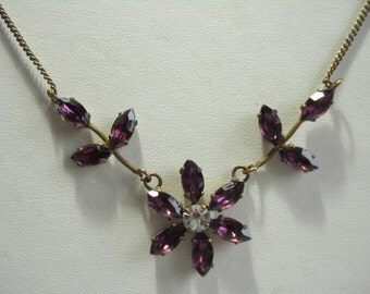 Vintage Necklace Amethyst Rhinestone Flower 1950's 1960's