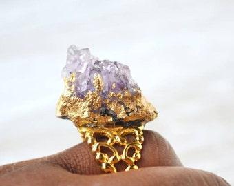 Raw Crystal Ring, Purple Quartz Druzy Jewelry, Amethyst Filigree Ring