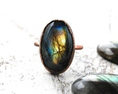 Labradorite ring | Labradorite copper ring | Electroformed ring | Flashy labradorite ring | Gemstone ring | Ring | Jewelry | Statement ring
