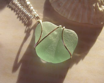 Sea Glass Jewelry Necklace Sea Foam Green Beach Glass Mermaid Silver Plated Wire Wrap