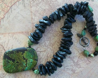 Green turquoise necklace, lava rock and turquoise, boho chic, unusual, chunky, statement, turquoise pendant, natural bead, black and green