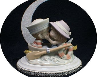 Precious Row Boat Wedding Fishing Wedding Cake Topper moonlight groom top KISS Moment in Time. Lake Sail Camping