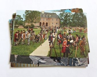 12 Vintage Williamsburg Virginia Postcards Used - Collage, Mixed Media, Scrapbooking, Assemblage, Paper Craft, Art Journal Supplies