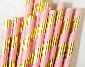 Coral Pink and Gold Paper Straws - Set of 25 Straws - Metallic Gold Girl's Birthday Party - First Birthday