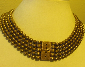 Victorian brass multi chain necklace  Brass ball bead necklace  Large Nouveau clasp