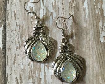 Gorgeous clear druzy dangle earrings
