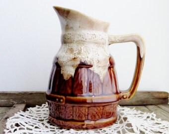 Vintage Pitcher French Bistro Wine Jug Vallauris Drip Glaze Barrel Pottery 6 Inch Tall Tiki Gravy Vessel Farmhouse Decor