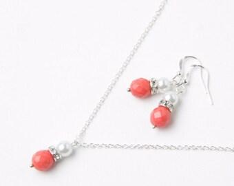 Coral Bridesmaid jewelry set, coral earrings and necklace set, coral wedding Jewelry, coral bridesmaid gift, rhinestone jewelry set
