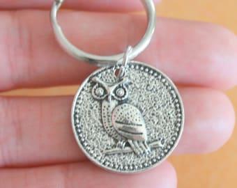 The OWL Keychain...tibetan silver. antique silver charm. owl hoot hoot. cute owl. retro. kitsch. boho. metal. urban. hipster. hippie. unisex