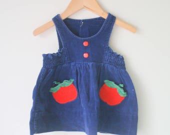 Vintage APPLE Girls Dress..size 12 18 24 months...corduroy. children. retro. picnic. summer. back to school. cotton sundress. children. kids