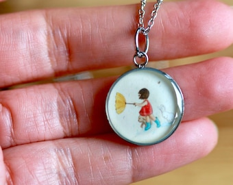 GIRL in the RAIN PENDANT (Small or medium) - Handmade resin pendant with stainless steel chain - Perfect for little or big girls