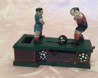 Retro Cast Iron Piggy Bank Soccer Field With Two Men. Put Your Coins Into The Piggy Bank. Heavy Cast Iron Bank Decor Soccer Decor