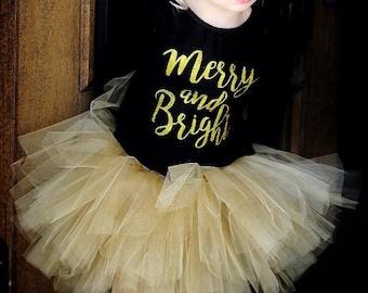 Gold Christmas tutu and headband set, Gold Girls Tutu Dress - Gold Baby Tutu Set