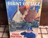 Vintage Childrens Book - The Mystery of the Burnt Cottage by Enid Blyton, 1963 Illustrated Green Linen Book Decorator Book