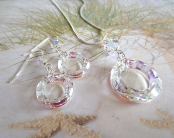 Crystal Earrings-Necklace-Cosmic Circle-Sterling Silver