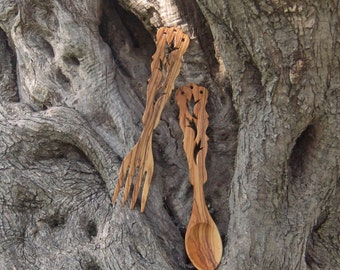 Olive wood salad servers, hand made from Greek Olive Wood