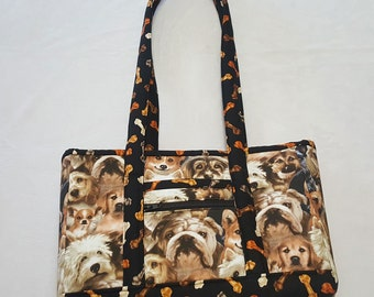 Puppy Dog Print Purse/Small Tote in Browns and Black