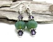 Dainty Green Opal Crystal Drop Earrings - Earrings for Sensitive Ears