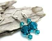 Dainty Blue Zircon Crystal Drop Earrings - Crystal Earrings - Swarovski Crystal Earrings - Earrings for Sensitive Ears