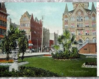 Syracuse N.Y. Clinton Square Park Postcard, Upstate New York, Northeast, Antique Color Ephemera c1920s, FREE SHIPPING