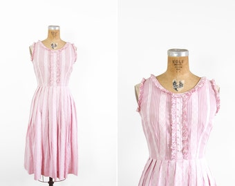 1950s Dress - 50s Dress - Pink Sleeveless Striped Cotton Day Dress