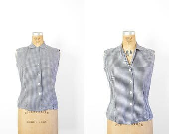 1950s Top - 50s Top - Black And White Gingham Sleeveless Top Shirt Blouse