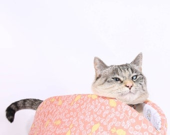 Cat Canoe a modern kitty bed - Made in Washington in a melon or coral cotton fabric with cute yellow birds