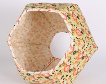 Floral Fabric Cat Bed - The Cat Ball modern pet bed made in Woodlands Flower and Toile Fabric by Riley Blake