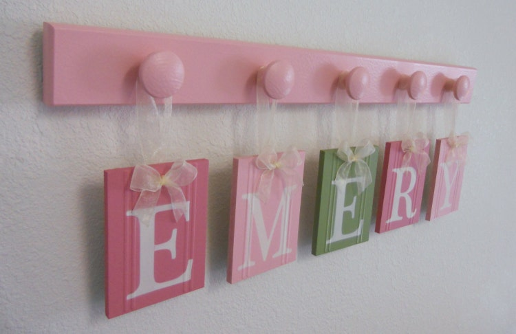 Wall Name Letters Nursery Blocks Pink Green By NelsonsGifts