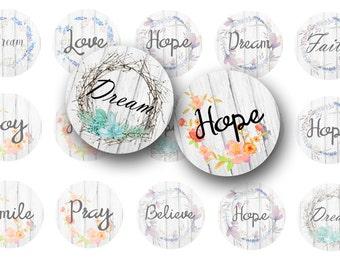 Digital collage sheet Dream, Hope, Pray, Inspirational 1 inch circles bottle cap images, Magnets, Planner stickers, Pendants, Badge reels