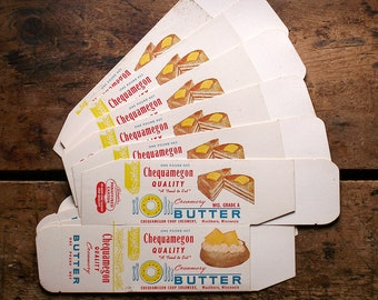 Vintage Unused Waxed Paper Butter Boxes - General Store Ephemera