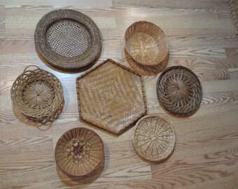 Woven Basket Wall Decor wicker woven | etsy