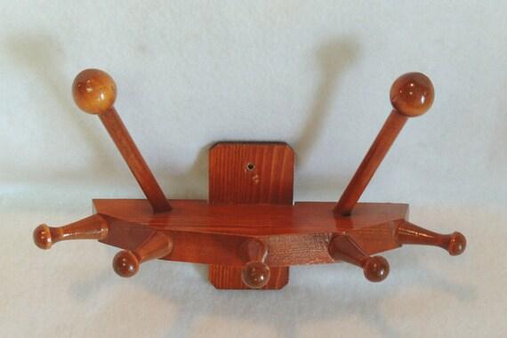 Vintage Mid Century Wooden Coat Hat Wall Hanger Hooks.. Rustic Cabin Décor (#4)