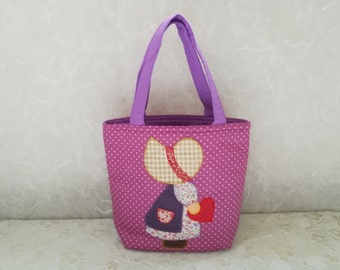 Fabric Patchwork handbag, Small Purple handbag, Cosmetic Sue bag, Top handle bag, Make up handbag, Applique handbag