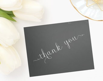 Personalized, stationery, Chalkboard Background Thank You Note Cards