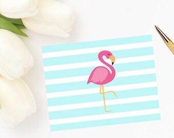 Bold Flamingo Stripe Note Cards