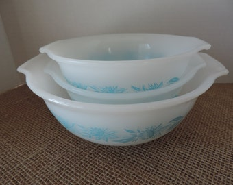 Glasbake Bowls Blue Floral Mixing Bowls by Jeannette Vintage 1960s Nesting Bowls Blue Floral Bowls Vintage Bowls Kitchen  Dining Serving