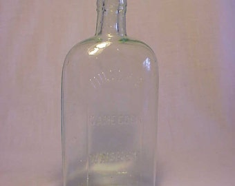 c1890s Miller's Game Cock Whiskey Boston, Mass., Aqua Cork Top Whiskey Bottle Flask