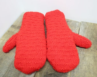 Women's recycled sweater mittens neon red