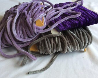 Vintage Velvet Cord Trim in three colors: lilac, purple or grey