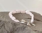 Rose Quartz Bracelet, Soft Pink Bracelet, Rose Quartz Jewelry, Beaded Bracelet, Healing Stone Bracelet