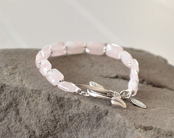 Rose Quartz Bracelet, Soft Pink Bracelet, Rose Quartz Jewelry, Beaded Bracelet, Healing Stone Bracelet