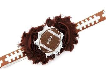 Football headband - Newborn headband - Baby headband - Brown white football headband- Football baby - Baby girl football headband