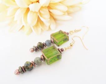 Boho Jewelry, Rustic Bohemian Hippie Earrings, Green Jade Earrings, Birthday Gift for Her, Gypsy Dangle Earrings, Dark Green Drop Earrings