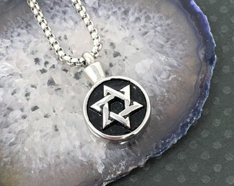 Cremation Urn Pendant - Star of David Necklace, Star of David Pendant, Ash Jewelry, Cremation Jewelry / free shipping