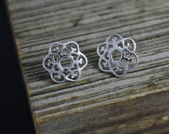 Sterling Silver Snowflake Earrings, Winter Earrings, Nature Inspired Earrings, Snowflake Studs, Christmas Earrings, Ready to Ship Earrings