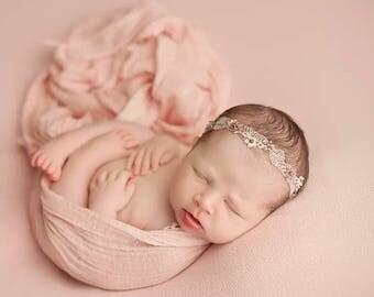 Newborn Cheesecloth, Large & High Grade Cheesecloth, Peach Cheesecloth, Newborn Photo Prop, Baby Wrap, Newborn SLING, Newborn COCOON