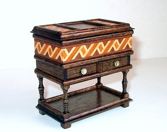 Dower Chest with Inlay Trim, Dollhouse Miniature 1/12 Scale, Hand Made