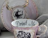 Alice in Wonderland Pink & Gold Teacup / Saucer Set, Pick Your Character, Lewis Caroll Teacup, Alice Tea Party, Wonderland Mug Cup