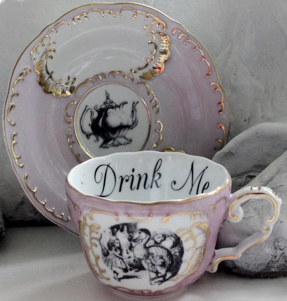 Alice in Wonderland Pink \u0026 Gold Teacup / Saucer Set Pick Your Character Lewis & Alice in Wonderland Pink \u0026 Gold Teacup / Saucer Set Pick